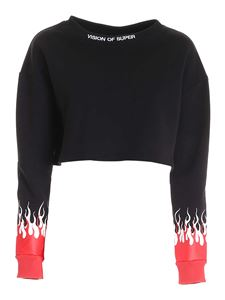 Vision Of Super - Printed crop sweatshirt in black