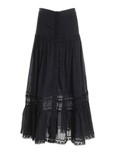 Charo Ruiz - Ann lace long skirt in black