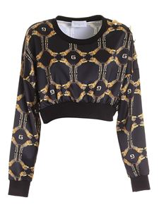Gaelle Paris - Tiger print crop sweatshirt in black