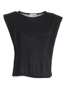 Gaelle Paris - Padded shoulder straps T-shirt in black