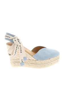 Philosophy di Lorenzo Serafini - Branded lace sandals in light blue