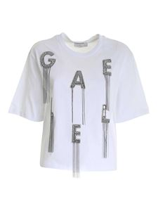 Gaelle Paris - Rhinestones and sequins T-shirt in white