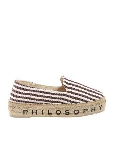 Philosophy di Lorenzo Serafini - Striped espadrilles in white and brown