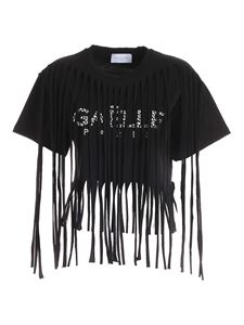 Gaelle Paris - Fringes and rhinestones T-shirt in black