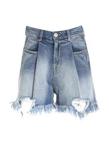 Gaelle Paris - Destroyed-effect shorts in blue