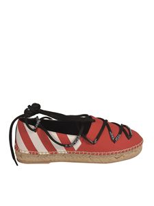 Off-White - Laced-up espadrilles in Beige and Red