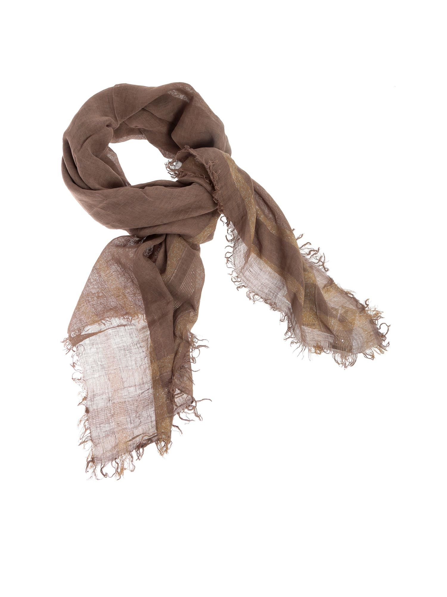 Peserico Sequined Scarf In Brown