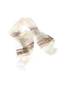 Peserico - Checked scarf in white and brown