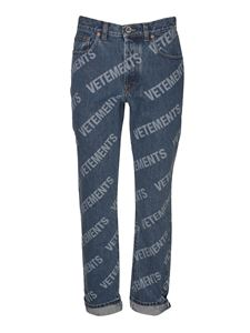 Vetements - All-over logo jeans in blue