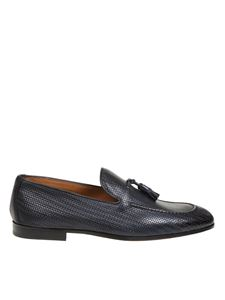 Doucal's - Woven leather loafers in blue