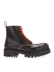 Balenciaga - Strike ankle boots in black and fluo orange