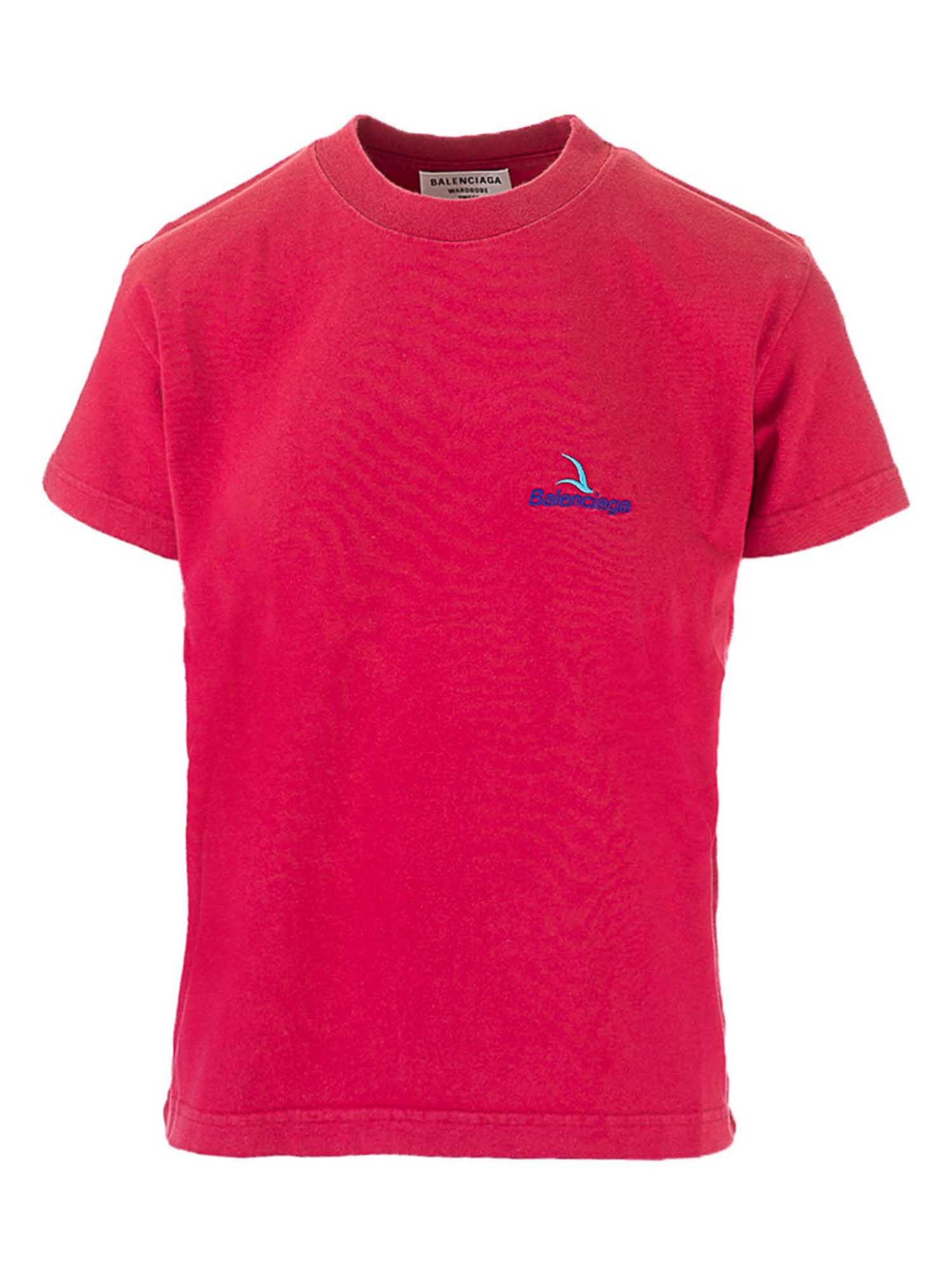 Balenciaga Clothing EMBROIDERED LOGO T-SHIRT IN RED