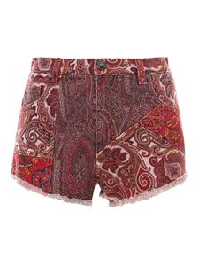 Etro - Cotton paisley shorts in red
