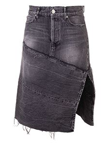 Balenciaga - Patchwork denim skirt in light black