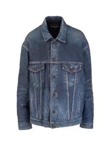 Balenciaga - Denim Trompe-l'œil leather jacket in blue