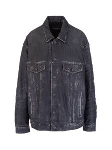 Balenciaga - Denim Trompe-l'œil leather jacket in black