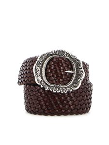 Orciani - Woven leather bet in brown