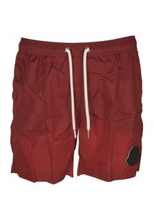 Moncler - Maxi logo patch swim shorts in red