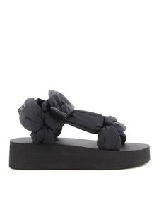 Red Valentino - Padded effect tech fabric sandals in black