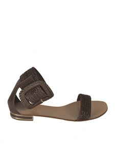 Casadei - Leather and woven fabric sandals in Cioccolato color