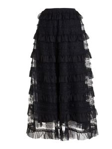 Red Valentino - Gonna a balze in tulle point d'esprit nera