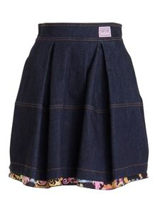 Versace Jeans Couture - Pleated denim mini skirt in blue