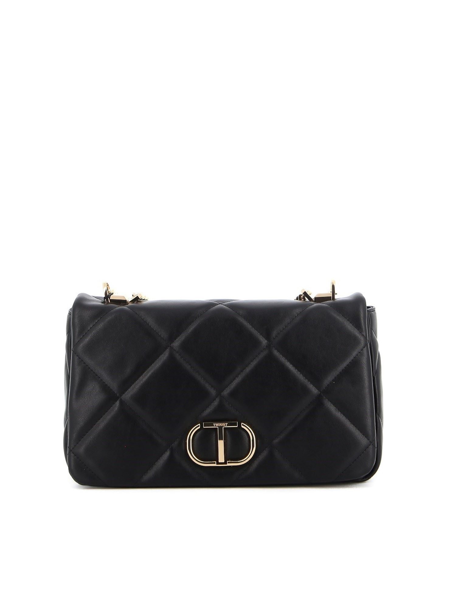 Twinset FAUX LEATHER QUILTED CROSSBODY BAG IN BLACK