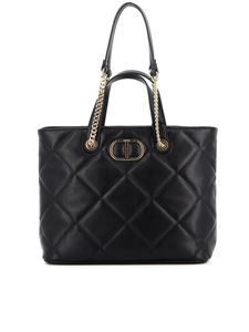 TWINSET - Faux leather quilted tote bag in black