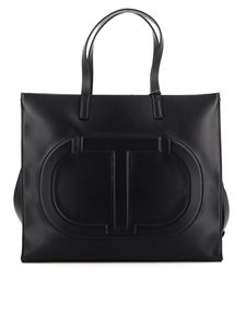 TWINSET - Embossed logo faux leather tote in black