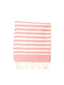 MC2 Saint Barth - Lamé detail beach towel in white and pink