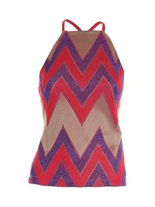 M Missoni - Lamé detail top in red and purple