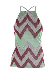 M Missoni - Lamé details top in red and green