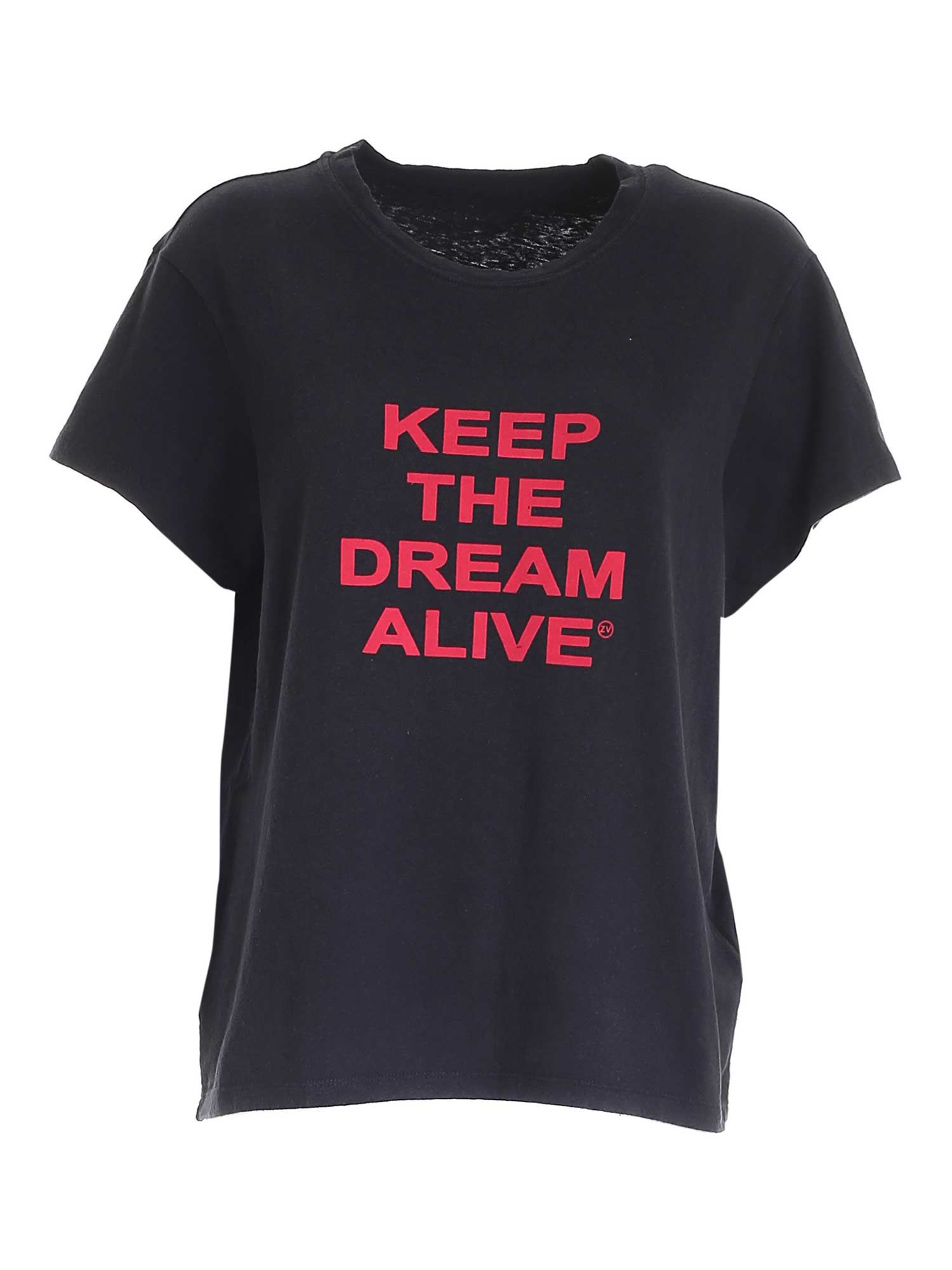 Zadig & Voltaire Cottons RED LOGO T-SHIRT IN BLACK