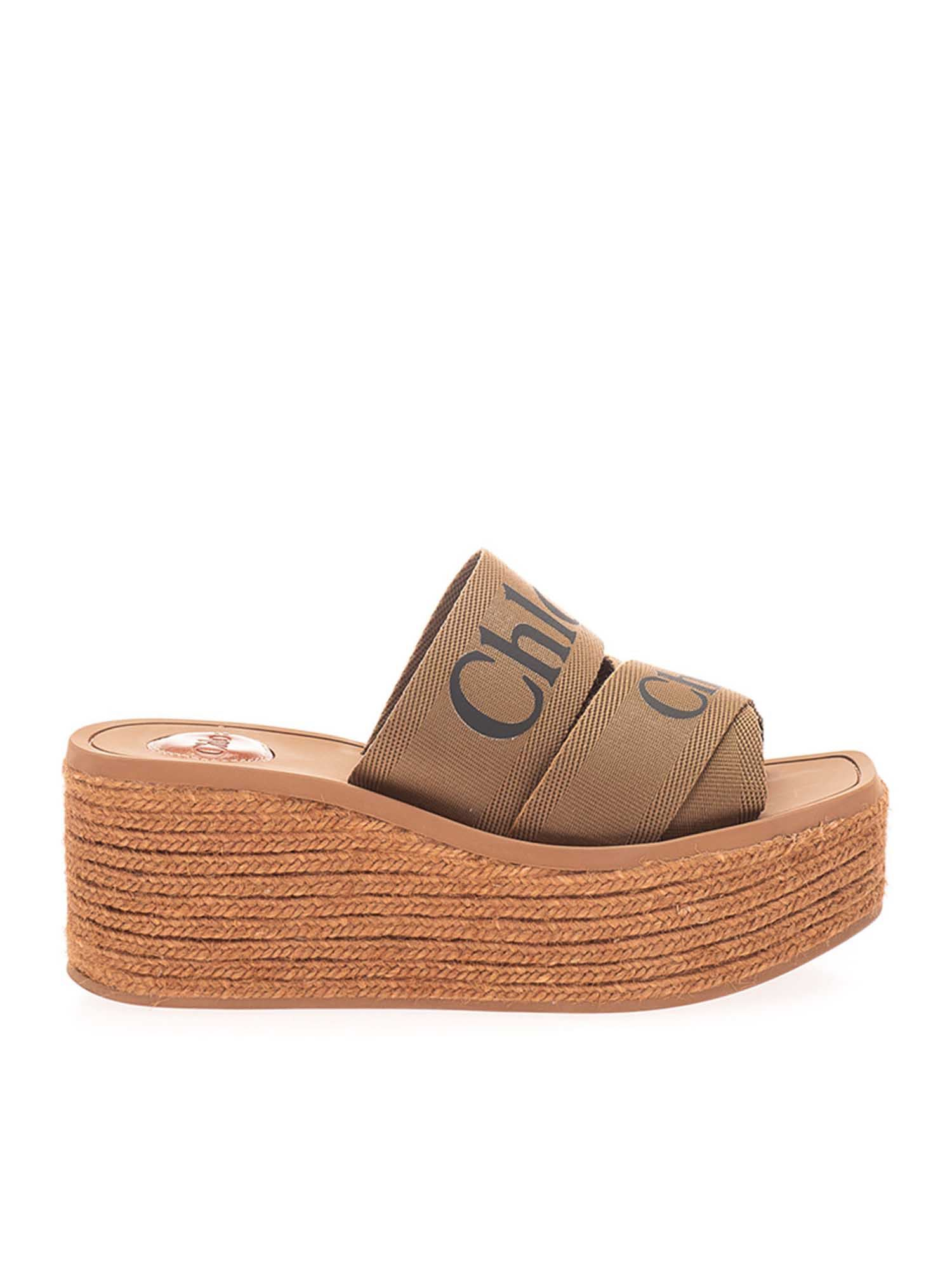 Chloé Canvases WEDGE WOODY ESPADRILLES IN GROVE BROWN