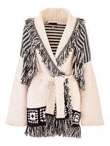 Alanui - Fringed cardigan in black and white