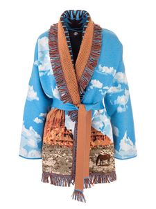 Alanui - The Monument Valley Horses cardigan in light blue