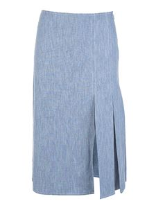 Fendi - Gonna in chambray azzurro con ricamo FF