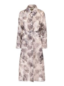 Fendi -  Organza trench coat in grey and white