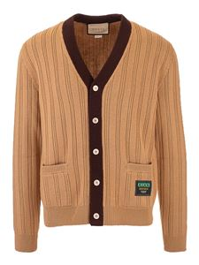 Gucci - Ribbed cardigan in camel color