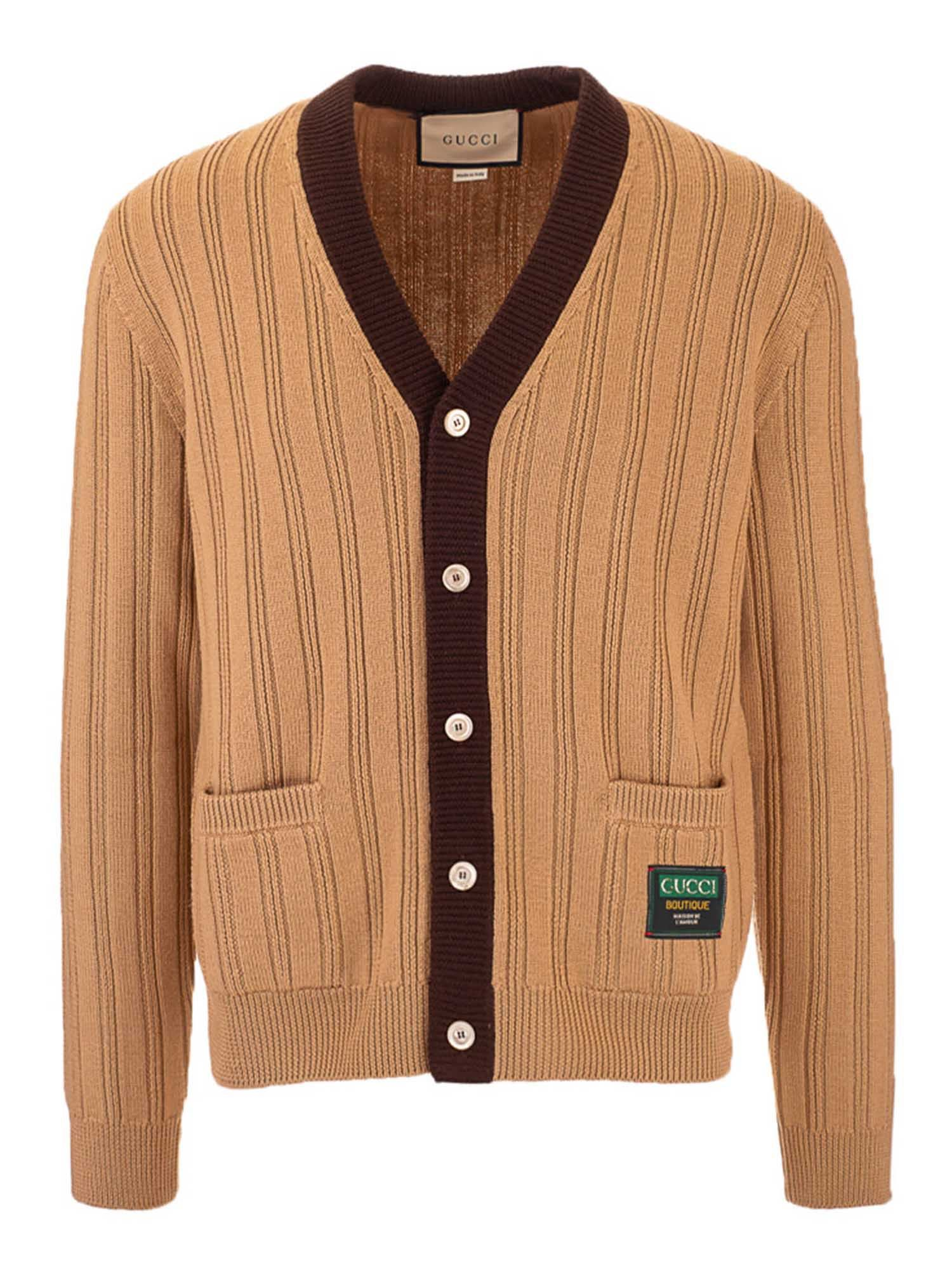 Gucci Cardigans RIBBED CARDIGAN IN CAMEL COLOR