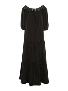 Parosh - Broderie anglaise cotton dress in black