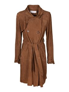 Bully - Suede trench coat in brown