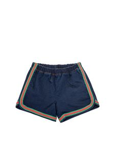 Gucci - Logo denim shorts in blue Gucci Kids