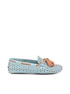 Tod's - Perforated leather loafers in light blue
