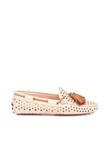 Tod's - Nude perforated leather loafers