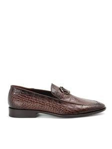 Roberto Cavalli - Croc print leather loafers in brown