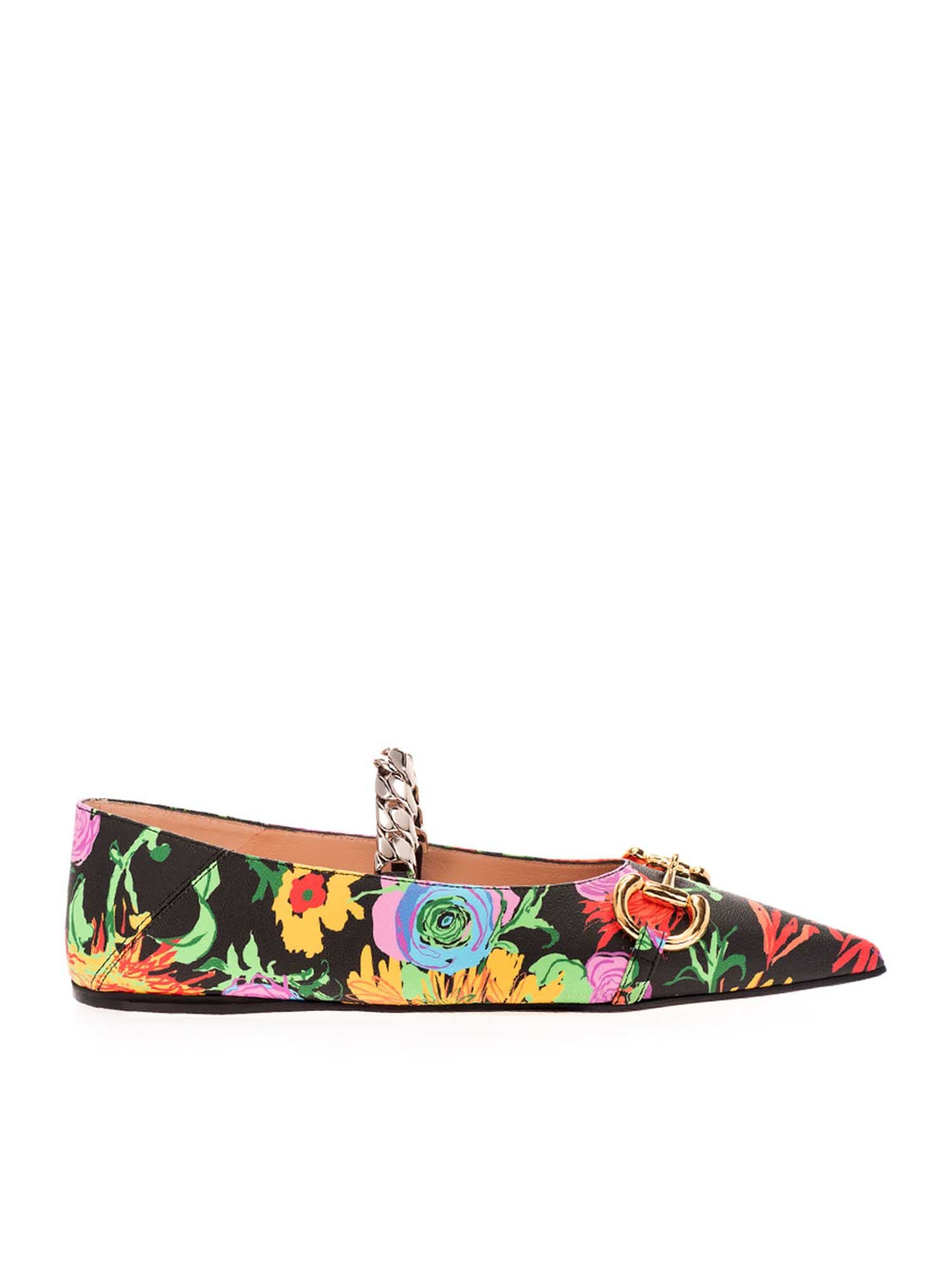 Gucci Leathers FLORAL PRINT CHAIN BALLET FLATS IN BLACK