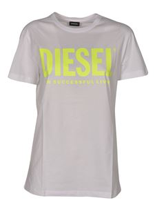 Diesel - T-Diego T-shirt in white and fluo