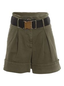 Patrizia Pepe - High-waisted cotton shorts in green