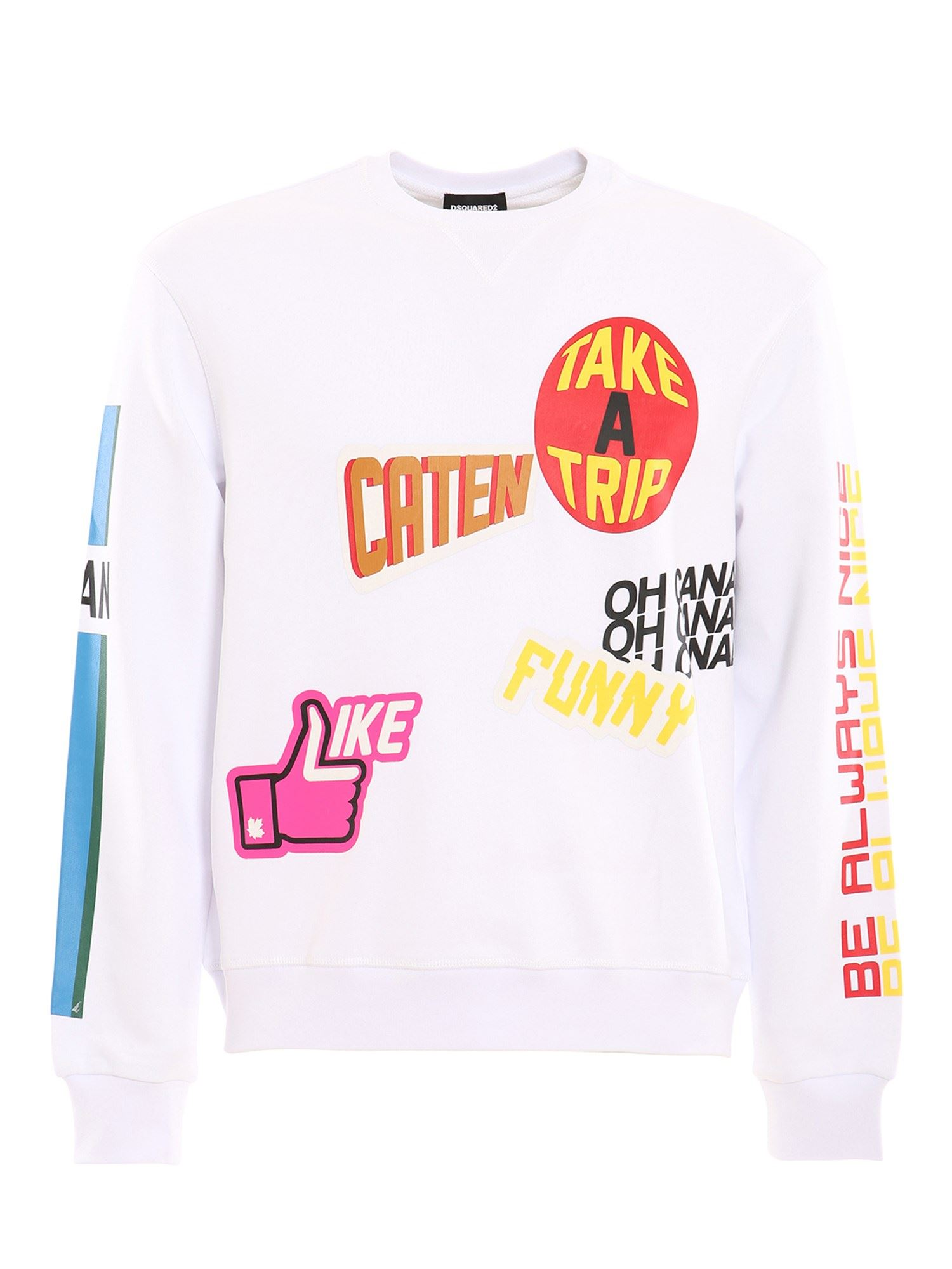 Dsquared2 Kids' Logo Patches Sweatshirt In White